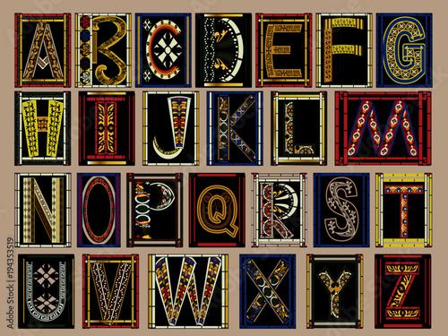 Photo  Highly Ornate Gold Illuminated Medieval Vector Font Alphabet Kit