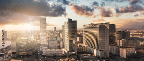 plakat Urban view of the Warsaw skyline. Panoramic cityscape of the city in central Poland.