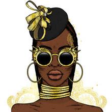 Beautiful African Girl In Glas...
