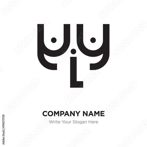 Abstract letter yLy logo design template, Black Alphabet