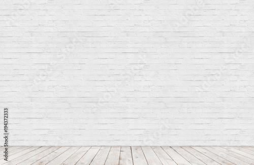 Obraz white brick wall with wood floor room - fototapety do salonu