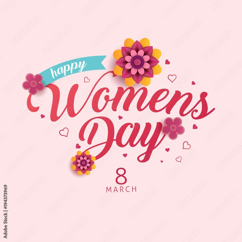 Fototapeta happy womens day vector illustration, international celebration womens day 8 march