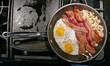 canvas print picture - Amerikanisches Frühstück mit zwei Spiegeleiern, Schinkenspeck und Bratkartoffeln in Bratpfanne