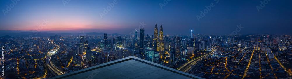 Fototapety, obrazy: Open space balcony with Kuala Lumpur cityscape skyline view  . Night scene .