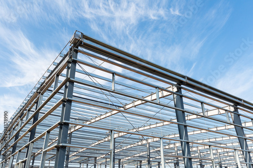 Stampa su Tela steel structure workshop with blue sky