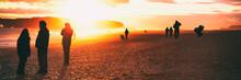 People Silhouette Walking On I...