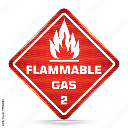 International Flammable Gas 2 Symbol Red Warning Dangerous Icon On