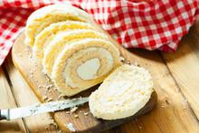 Slices Of Sweet Cream Roll