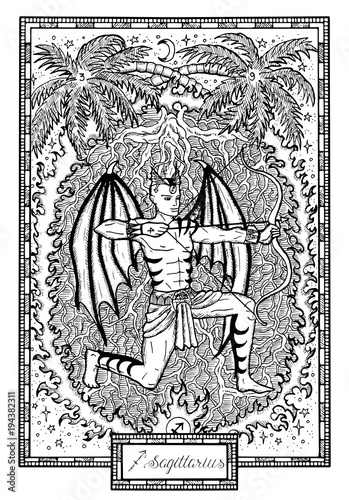Zodiac sign Archer or Sagittarius with palm tree, fire frame
