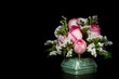 canvas print picture pink-white roses in vase on black background
