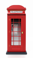Red British Phone Booth Isolat...