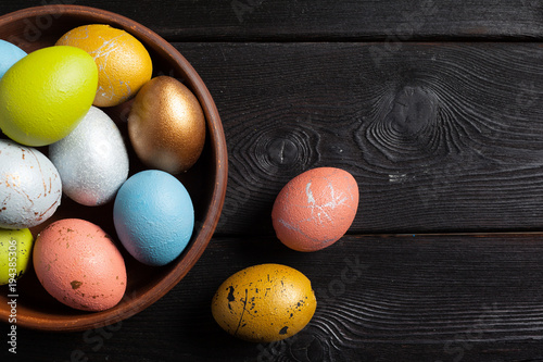 Happy easter! Easter eggs on wooden background Canvas Print