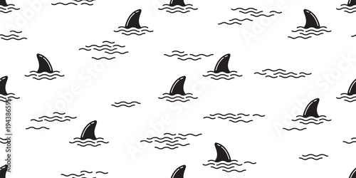 shark fin seamless pattern dolphin isolated vector whale ocean wave sea island beach tropical background wallpaper