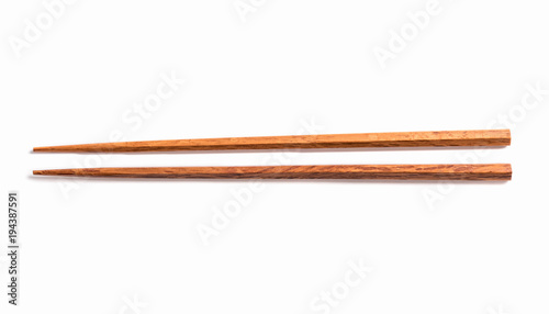 Fotografie, Obraz  Brown chopsticks isolated on white background.