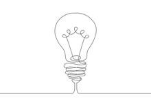 Continuous Line Drawing Light Bulb Symbol Idea.