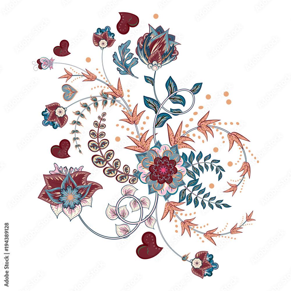 Akcyjny wektorowy abstrakcjonistyczny ręka remisu kwiat. Doodle bukiet. Wektorowy orientalny lub arabski, Russia sztuki tło.