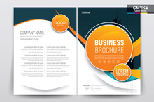 Brochure, Booklet, Cover Layout Design With Orange Circle, A4 Size Vector Template
