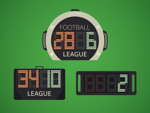 Soccer / Football Electronic Scoreboard For Player Replacement. Extra Time Panel.