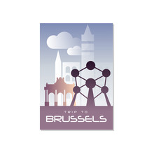 Trip To Brussels, Travel Poster Template, Touristic Greeting Card, Vector Illustration For Magazine, Presentation, Banner, Book Cover