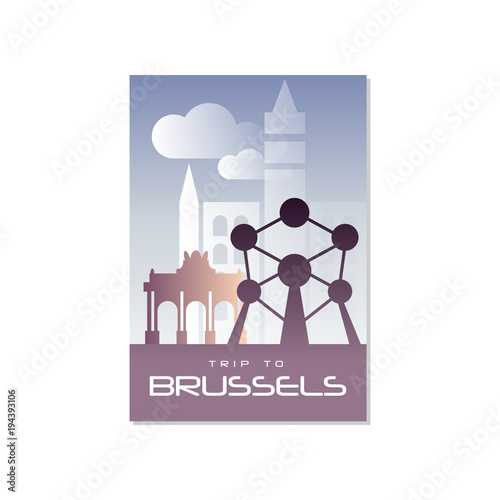 Trip to Brussels, travel poster template, touristic greeting card, vector Illust Wallpaper Mural