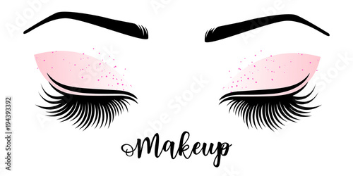 9c1ddb41b3a Makeup master logo. Vector illustration of lashes and brow. - Buy ...