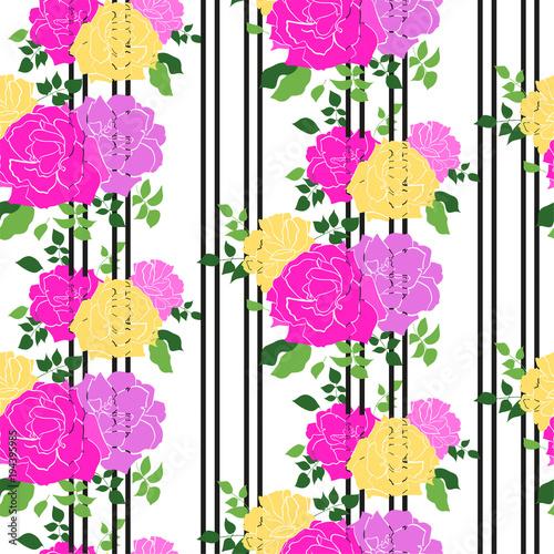 wektorowy-bezszwowy-wzor-z-ogrodowymi-roza-kwiatami-na-bialej-tlo-rece-rysujacej-ilustracja-kwiatowy-wzor-kosmetykow-kartke