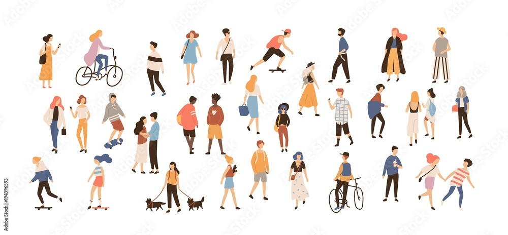Fototapeta Crowd of people performing summer outdoor activities - walking dogs, riding bicycle, skateboarding. Group of male and female flat cartoon characters isolated on white background. Vector illustration. - obraz na płótnie