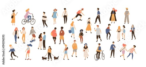 Fototapeta Crowd of people performing summer outdoor activities - walking dogs, riding bicycle, skateboarding. Group of male and female flat cartoon characters isolated on white background. Vector illustration. obraz na płótnie
