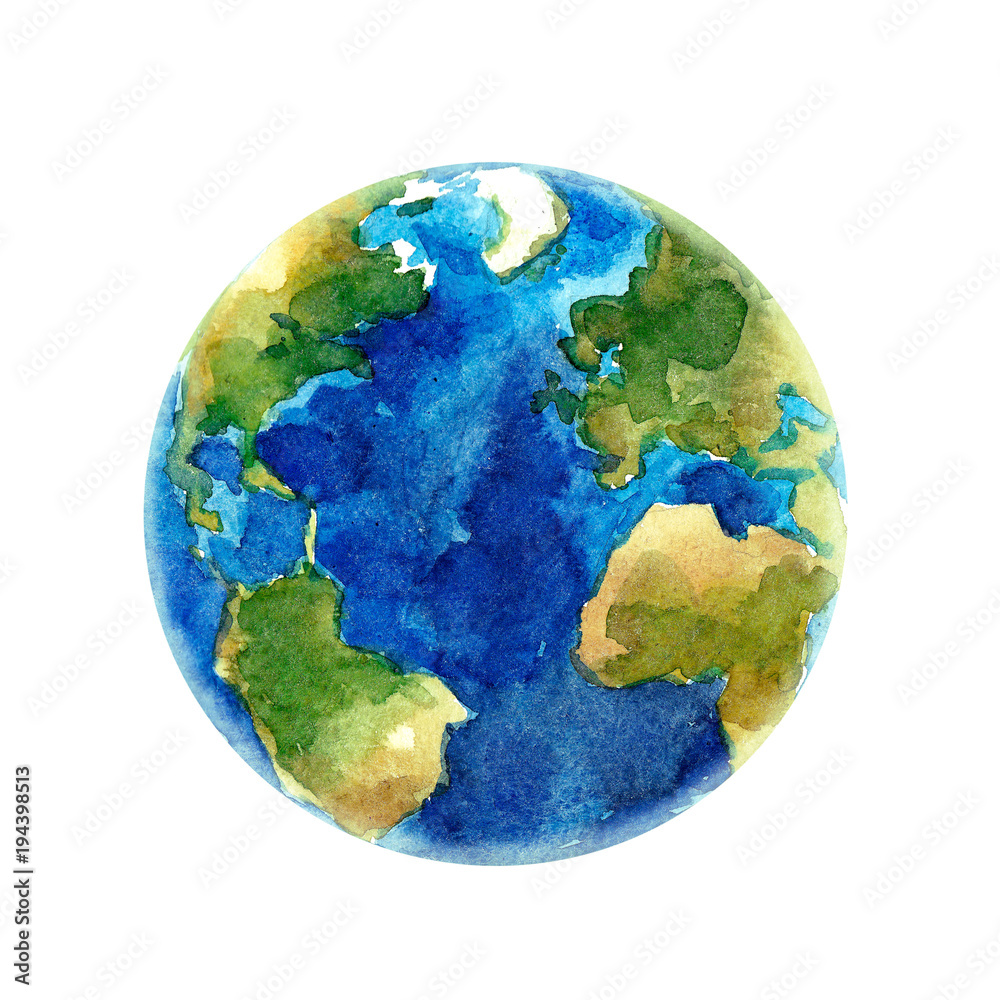 Fototapety, obrazy: Watercolor Earth planet illustration