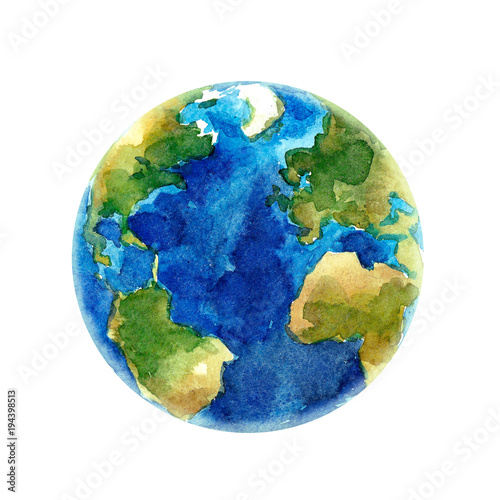 Watercolor Earth planet illustration Fototapete