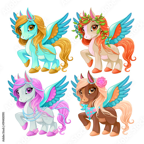 Door stickers kids room Baby pegasus for freedom and magic