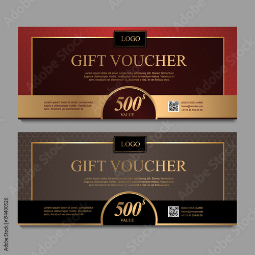 Voucher Template With Red And Brown Certificate Background Design