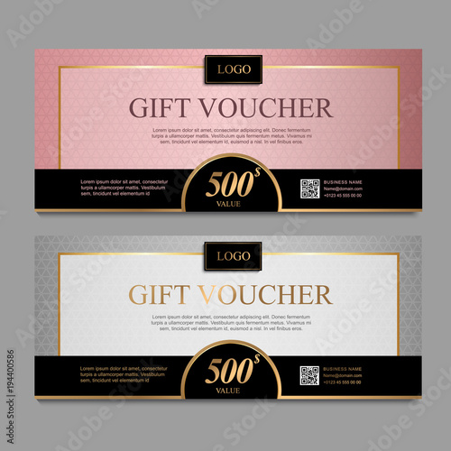 Voucher Template With Pink And Gray Certificate Background Design