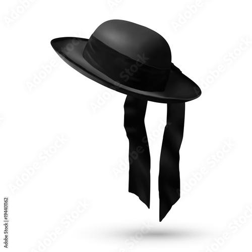 Black breton vector mens hat Canvas Print