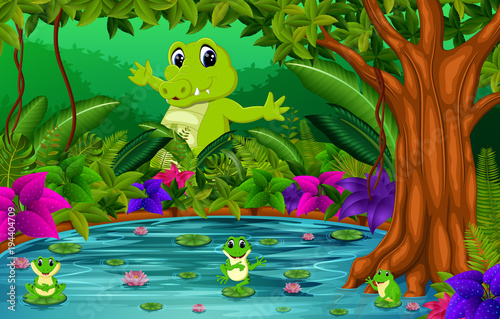 Recess Fitting Submarine crocodile and frog in the jungle with lake scene