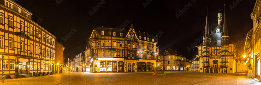 Fototapeta historic wernigerode at night high definition panorama