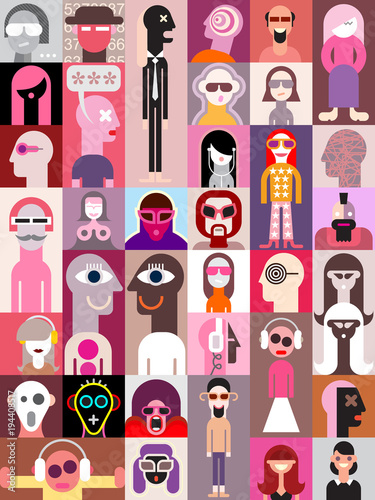 Cadres-photo bureau Art abstrait People pop art vector illustration
