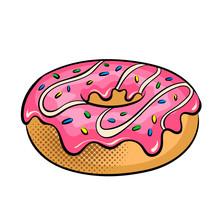 Donut Pop Art Vector Illustration