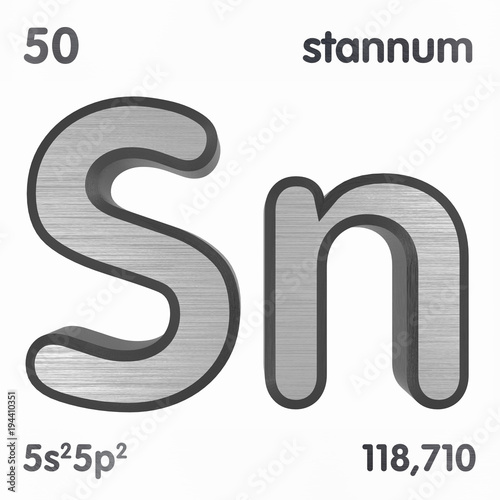 Tin Sn Or Stannum Chemical Element Sign Of Periodic Table Of
