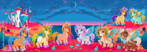 Poster Chambre d enfant Groups of unicorns and pegasus in a fantasy landscape