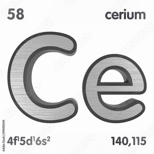 Cerium ce chemical element sign of periodic table of elements 3d cerium ce chemical element sign of periodic table of elements 3d rendering urtaz Images