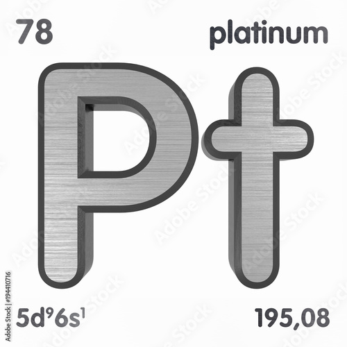 Platinum Pt Chemical Element Sign Of Periodic Table Of