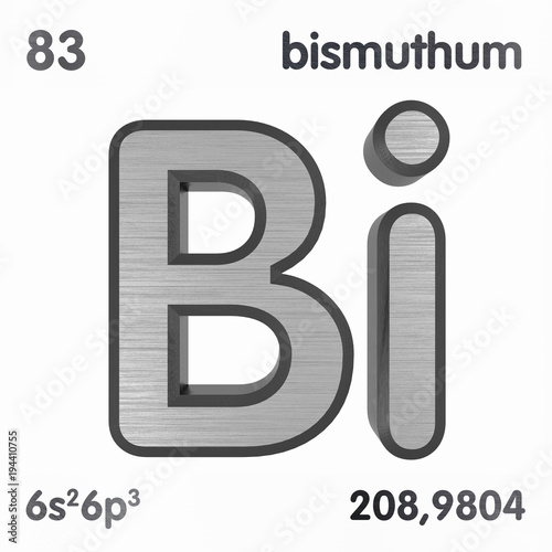 Bismuth Bi Or Bisemutum Chemical Element Sign Of Periodic
