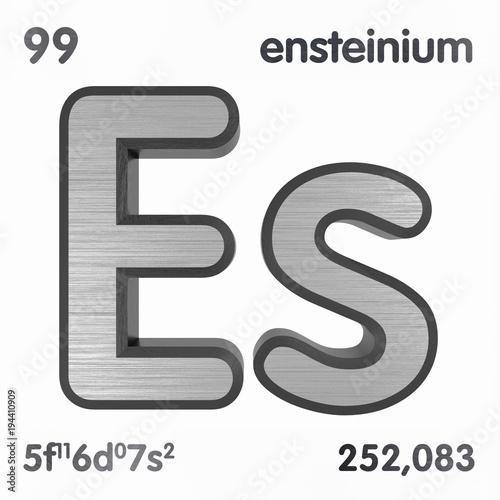 Einsteinium Es Chemical Element Sign Of Periodic Table Of