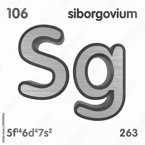 Seaborgium Sg Chemical Element Sign Of Periodic Table Of Elements