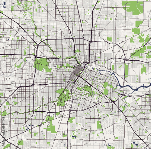 Vector Map Of The City Of Houston U S State Of Texas Usa Buy