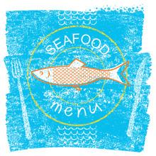 Seafood Restaurant Menu On Blu...