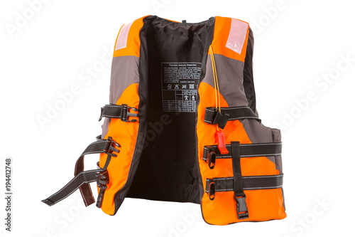 Fotografía orange life jacket on white background, vest undone