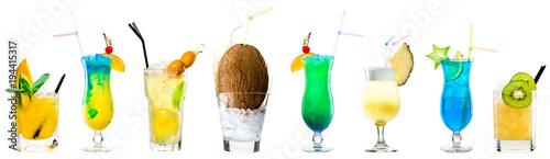 Fotografie, Obraz  set of classic alcoholic cocktails on white