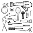 barber shop - set of 15 hand-drawn accessories